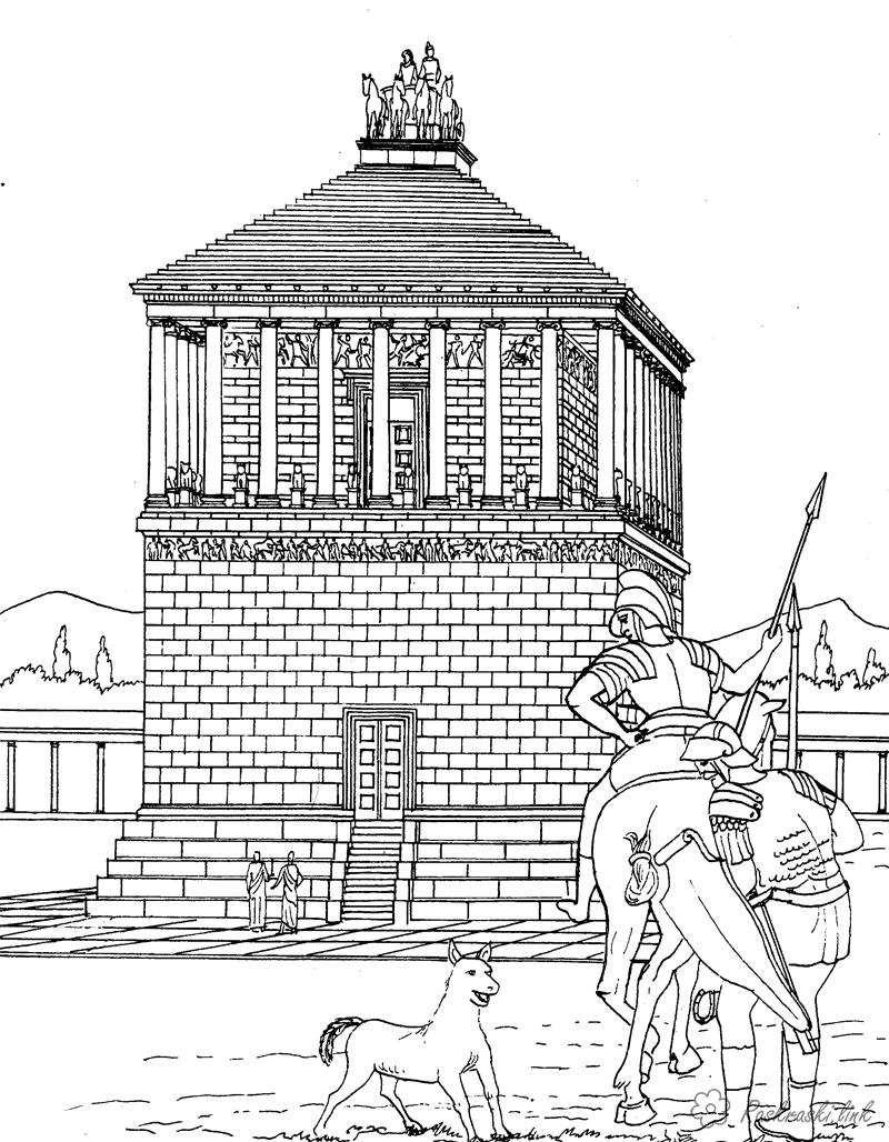 Coloring Asia coloring pages books for children, travel, asia, history, rider, horse, building