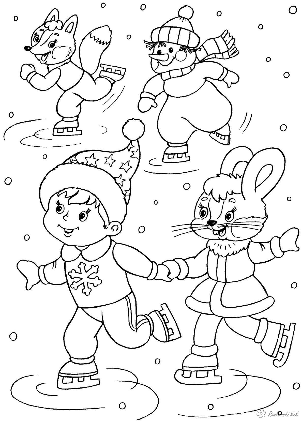 Coloring New Year Kids coloring pages Christmas, Santa Claus presents different podarochki kids