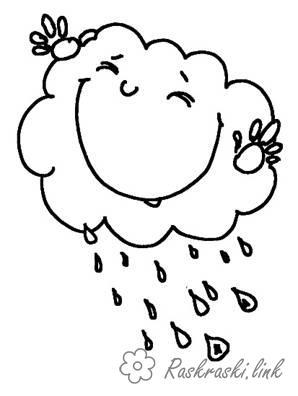 Раскраски явления раскраски для детей, явления природы, природа, дождь, тучка