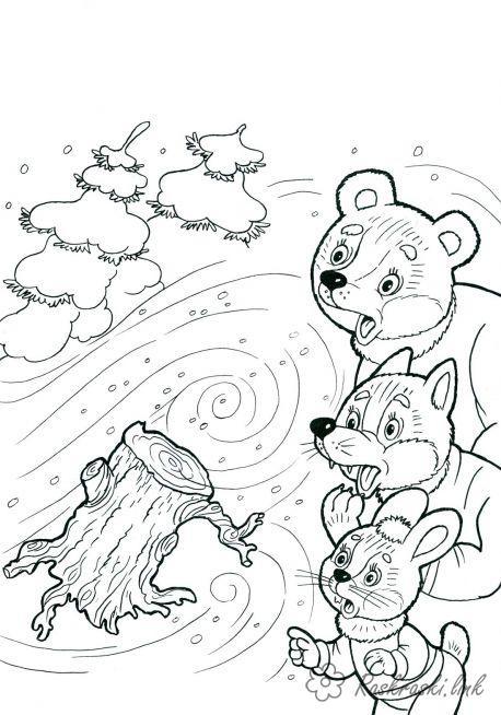 Раскраски явления раскраски для детей, явления природы, природа, раскраски животные, вьюга, метель, медведь, лиса, заяц