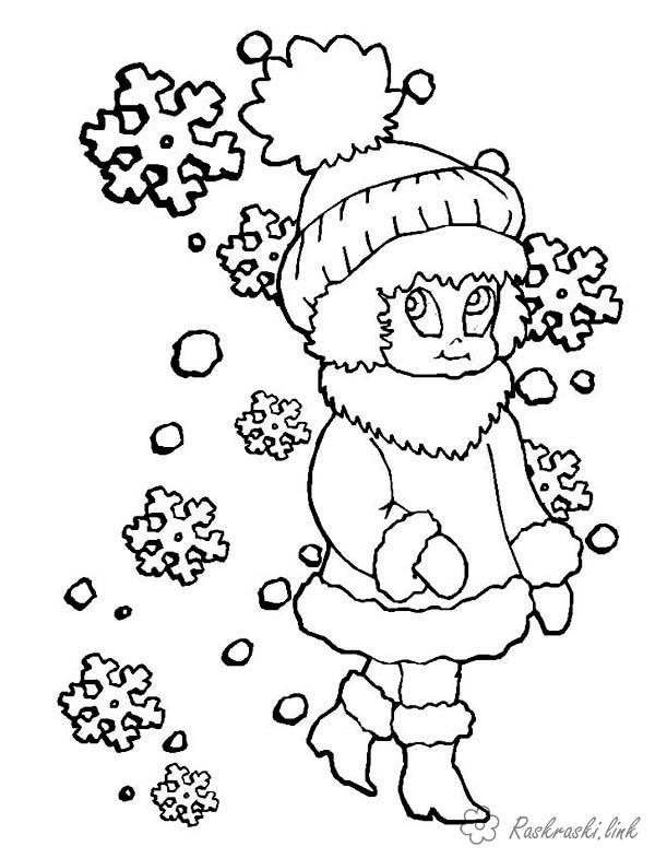 Раскраски природы раскраски для детей, явления природы, природа, снег, девочка