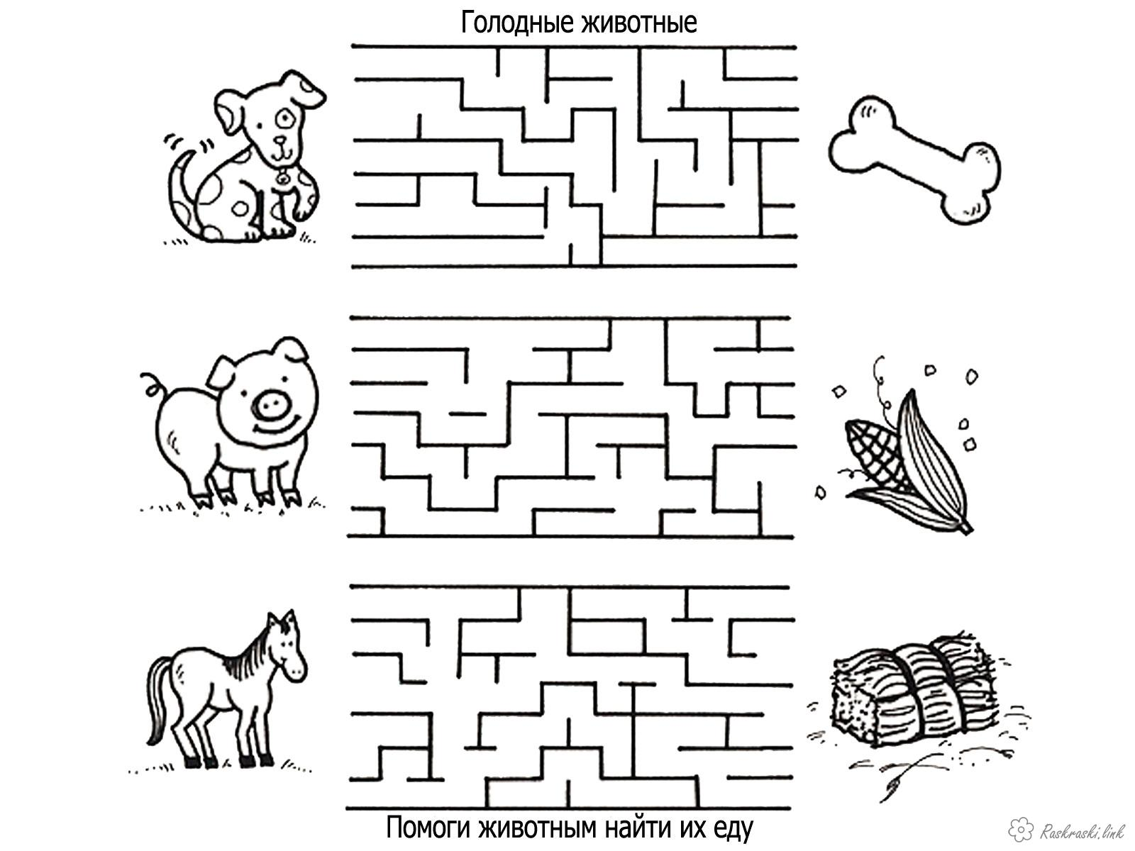 Coloring coloring pages maze Maze, feed the animals, lead the animals through the maze