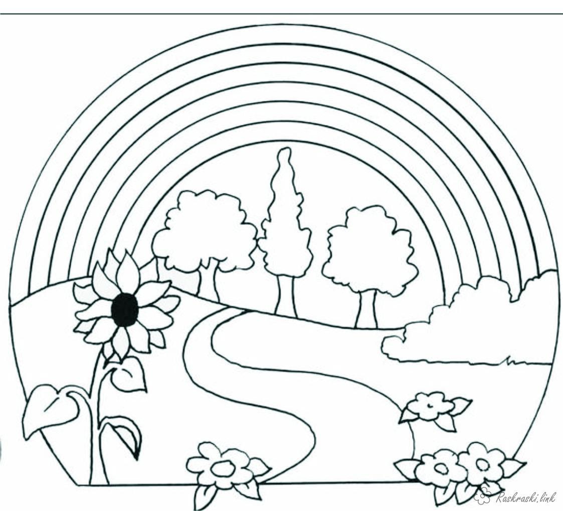 Раскраски дерево раскраски для детей, явления природы, природа, радуга, дерево