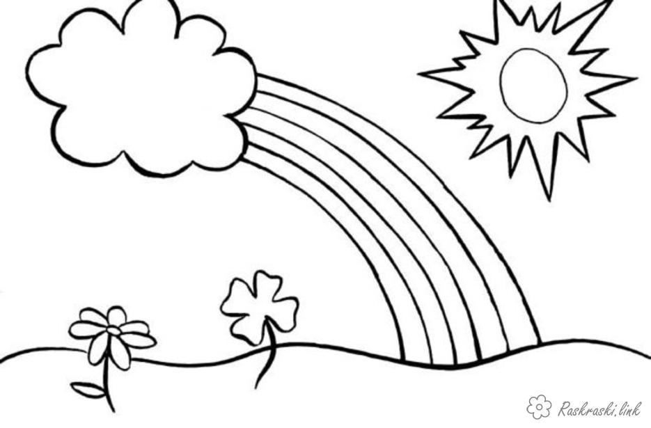 Раскраски природа раскраски для детей, явления природы, природа, радуга, солнце