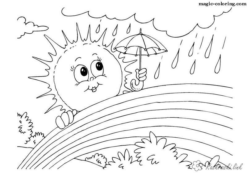 Розмальовки Явища природи розмальовки для дітей, явища природи, природа, дощ, веселка, сонце