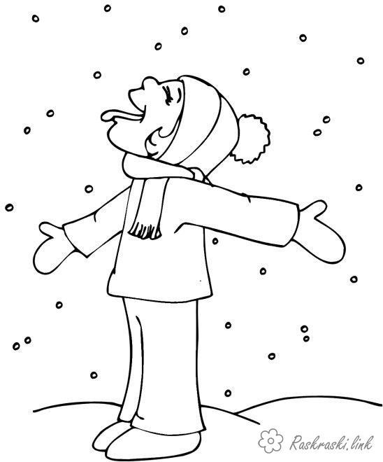 Розмальовки Явища природи розмальовки для дітей, явища природи, природа, сніг, хлопчик