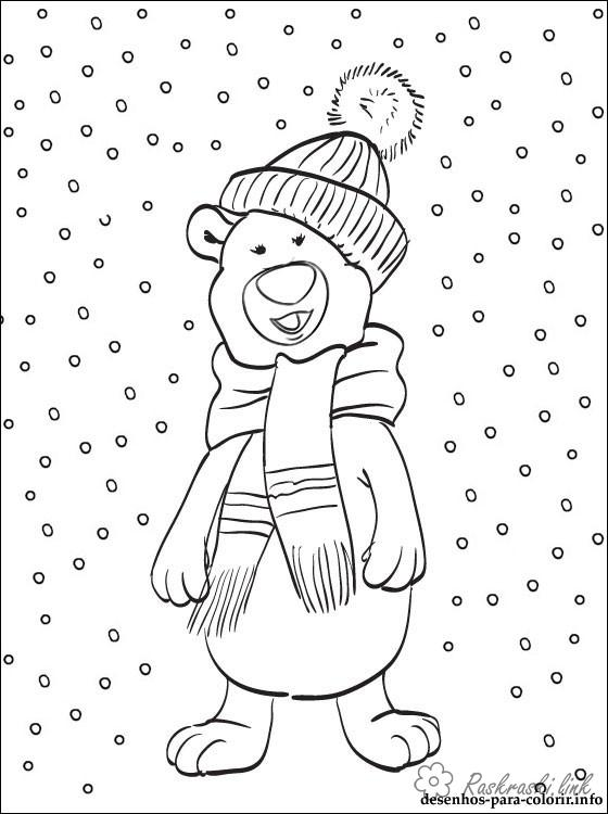 Coloring cub coloring pages books for children, natural phenomena, nature, snow, bear, bear cub in a cap