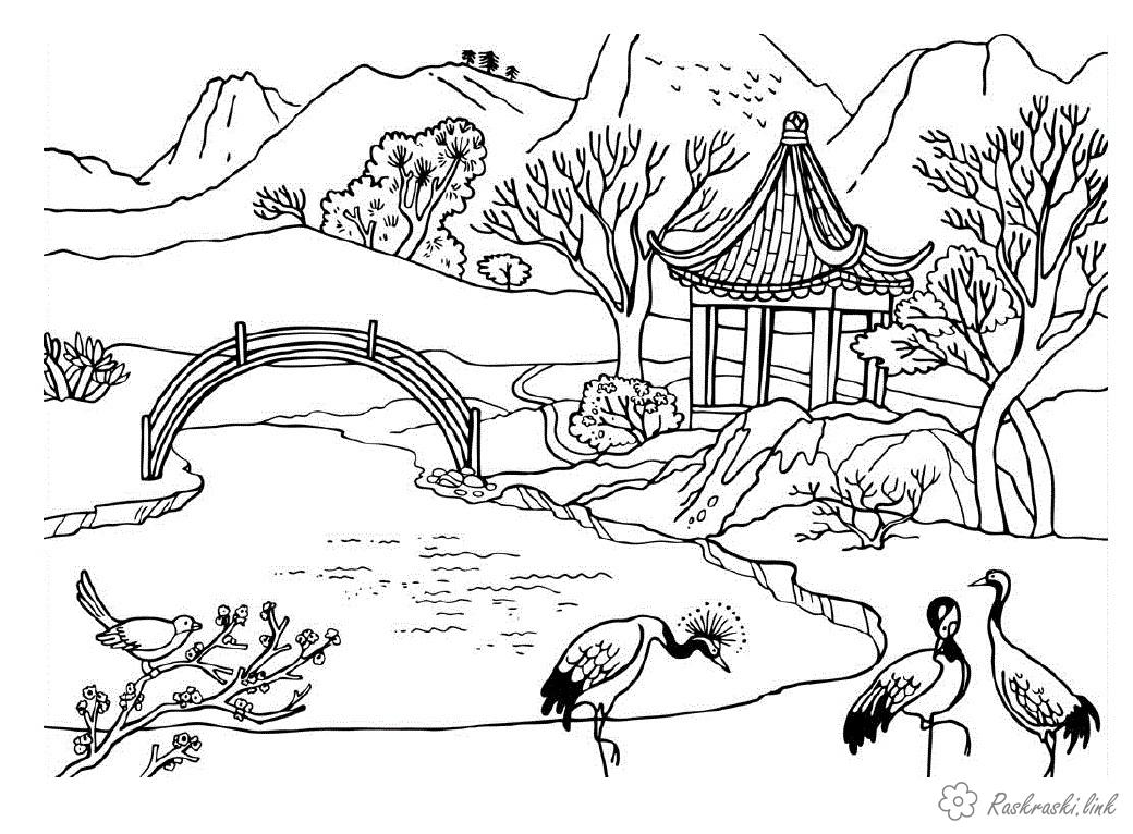 Coloring children coloring pages books for children, nature, outdoor recreation, china, birds, river, bridge, temple, building, house, architecture