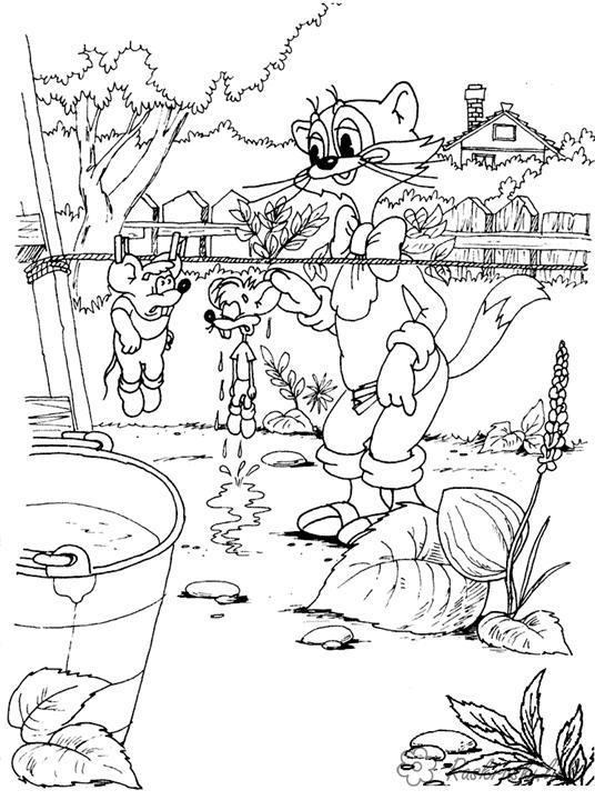 Раскраски природе раскраски для детей, природа, отдых на природе, животные, кот Леопольд, мыши