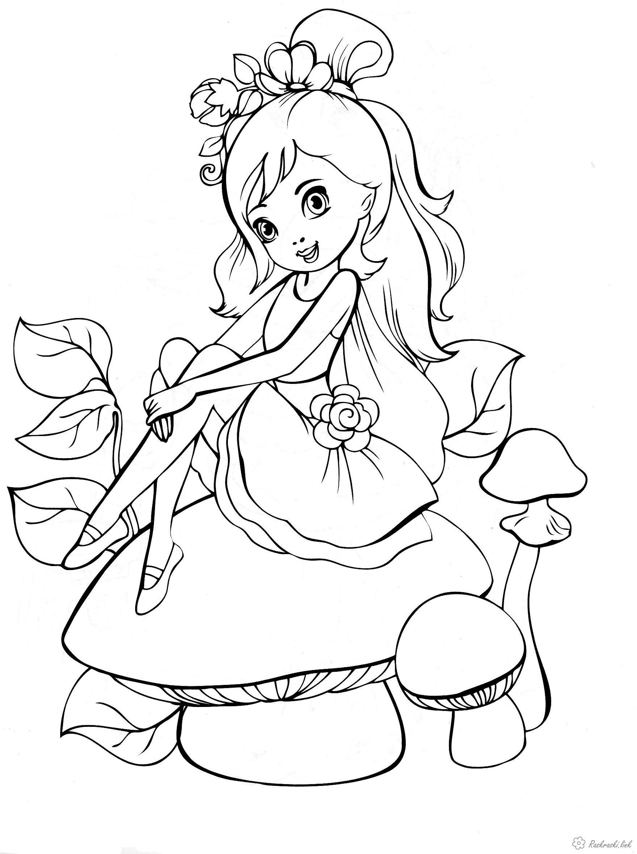Розмальовки дівчинка Дитяча розфарбування прекрасна юна дівчинка