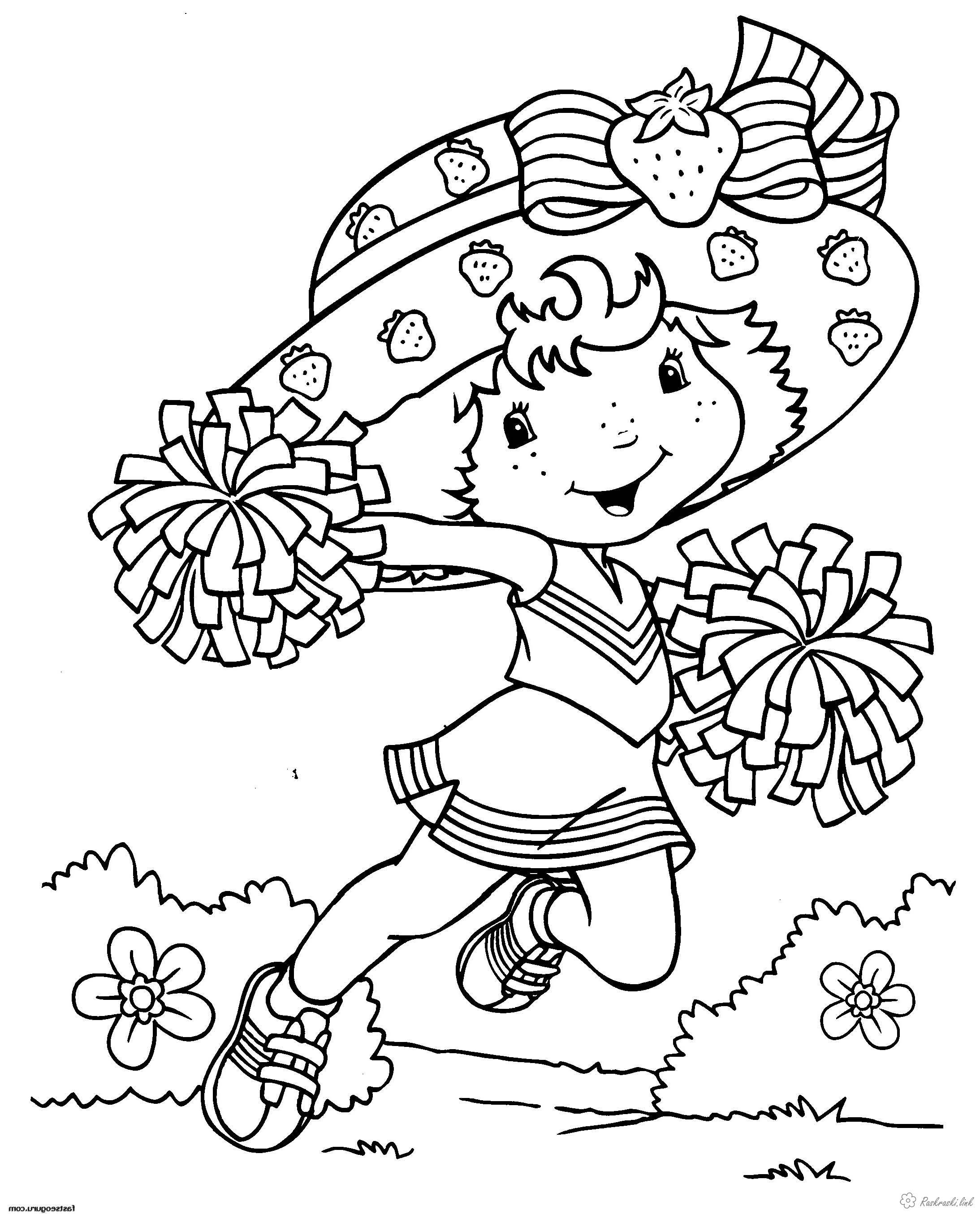 Розмальовки дівчинка Дитяча розмальовка дівчинка з групи підтримки