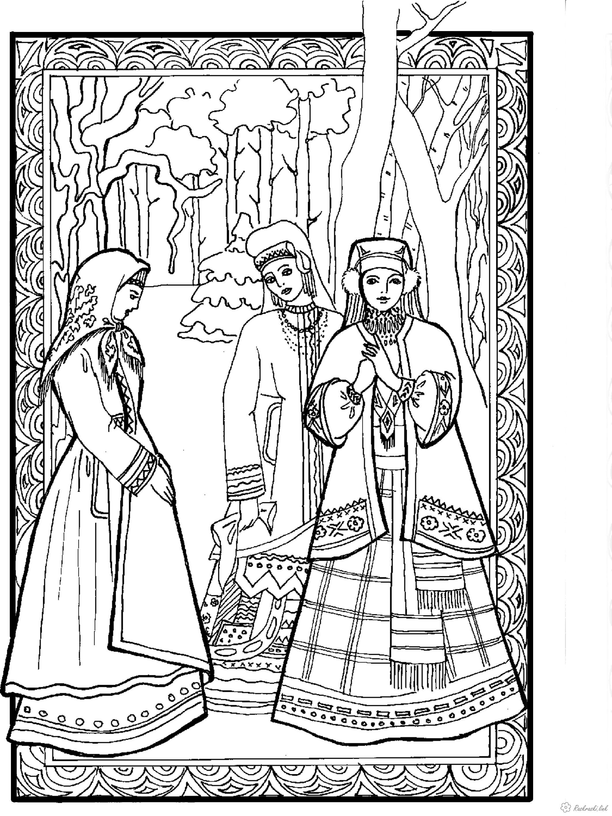 Coloring costumes Kids coloring pages national costumes of ancient Russia