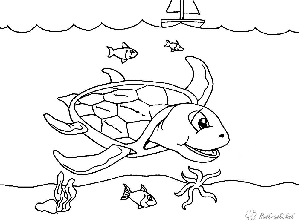 Розмальовки Підводний світ розфарбування, морська черепаха, рибки, кораблик