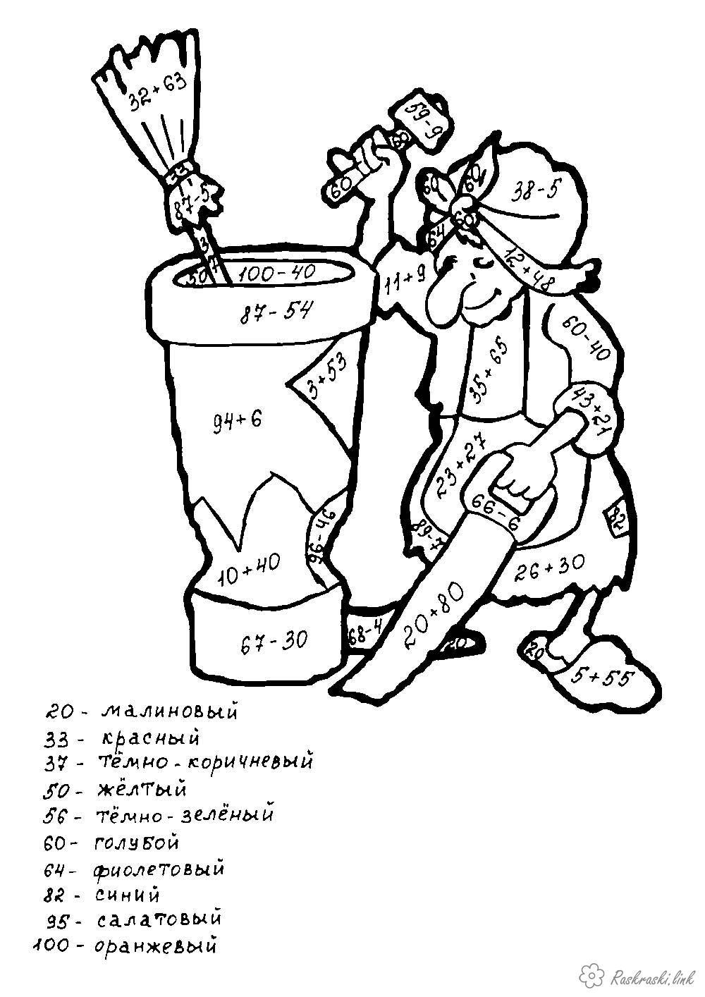 Розмальовки Математичні розмальовки 2 клас Математична розфарбування, 2 клас, баба Яга зі ступою, порахуй і розфарбуй