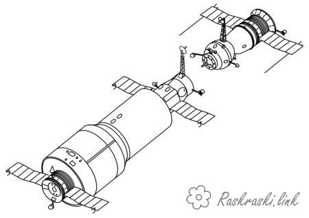 Coloring Cosmonautics Day space station coloring pages Cosmonautics Day