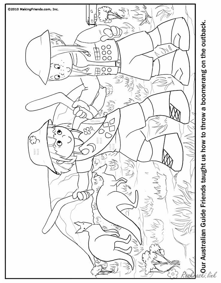 Coloring Australia coloring pages books for children, animals, Australia, kids, kangaroo