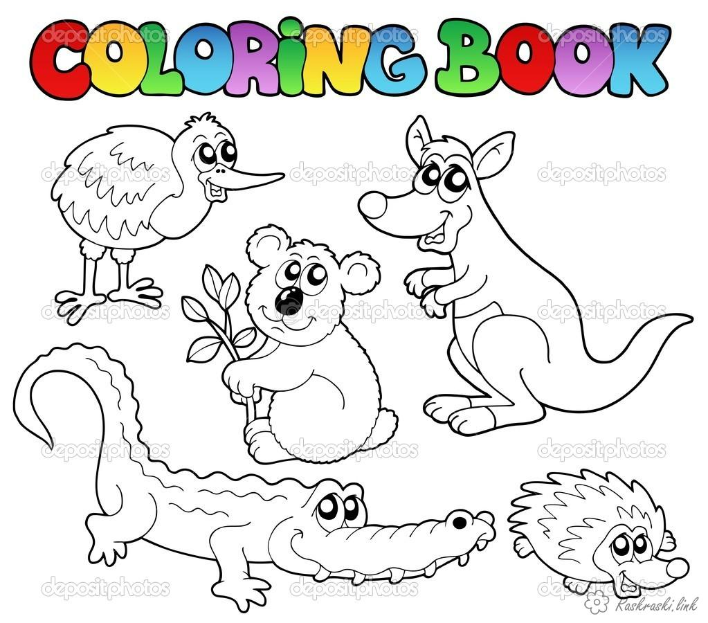 Coloring Australia coloring pages books for children, animals, Australia