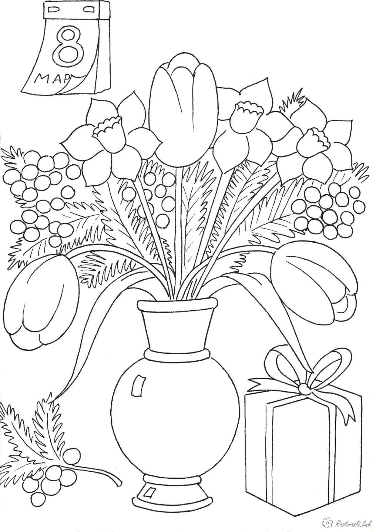 Coloring bouquet coloring pages, flowers, bouquet, March 8