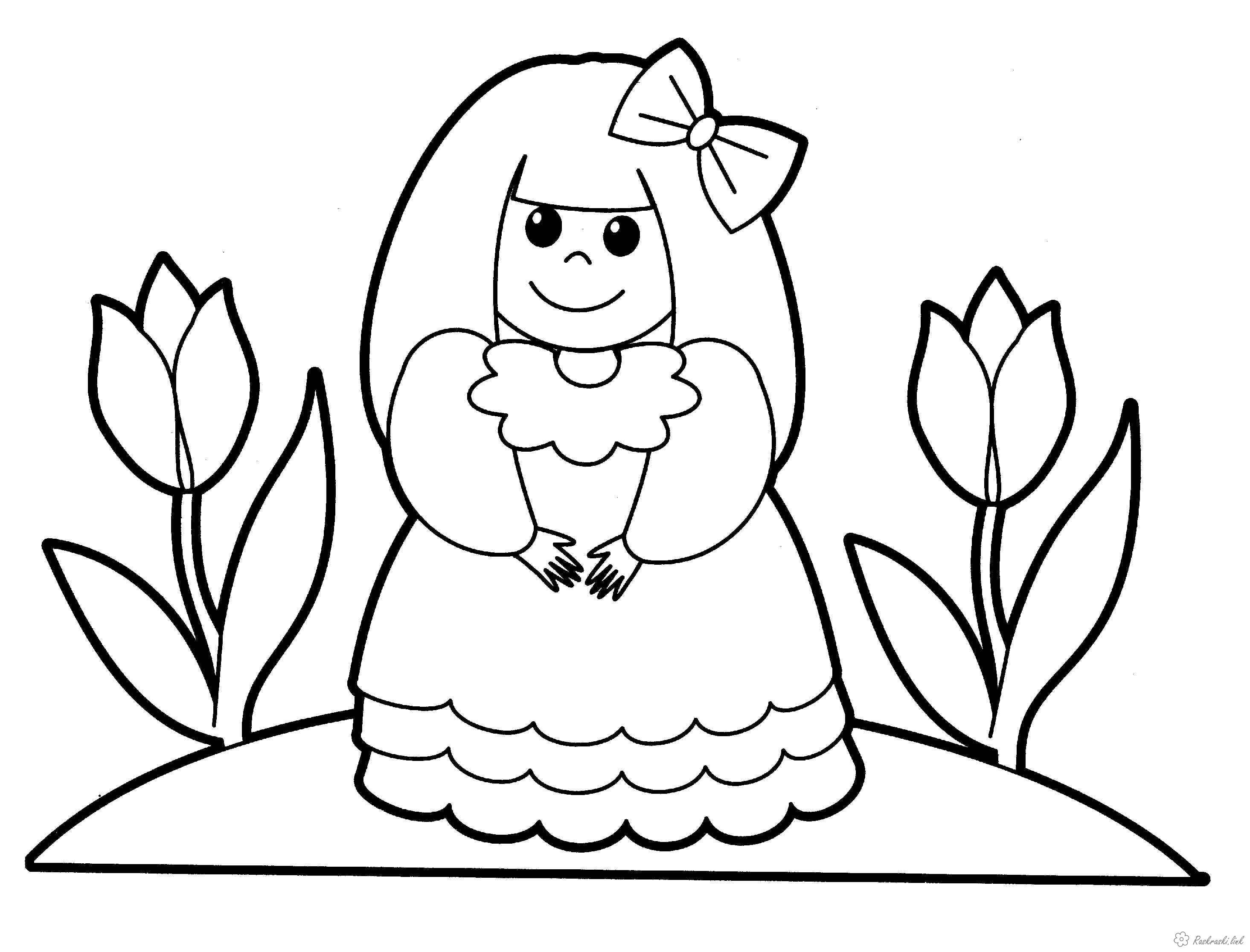 Розмальовки дівчинка дитяча розмальовка дівчинка, квіти