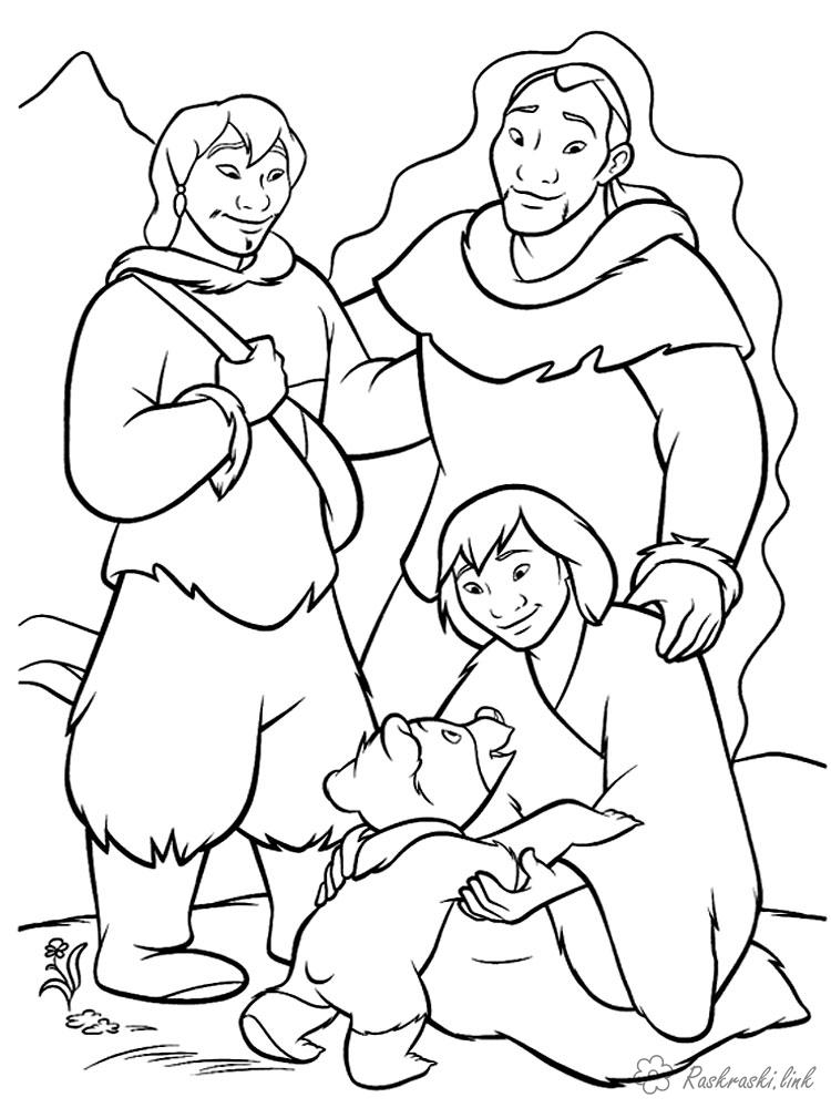 Coloring North America coloring pages books for children, animals, North America, bears, people, man, person