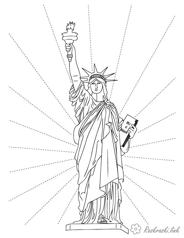 Coloring North America coloring pages for kids, North America, the Statue of Liberty