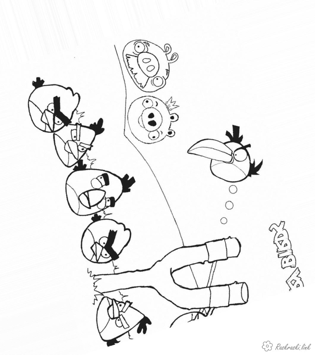 Coloring Angry Birds coloring pages angry birds with a slingshot