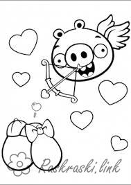 Coloring Angry Birds Green pig cupid shoots from a bow