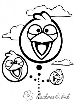 Coloring Angry Birds Angry birds Angri berds smile and fly to attack the pigs
