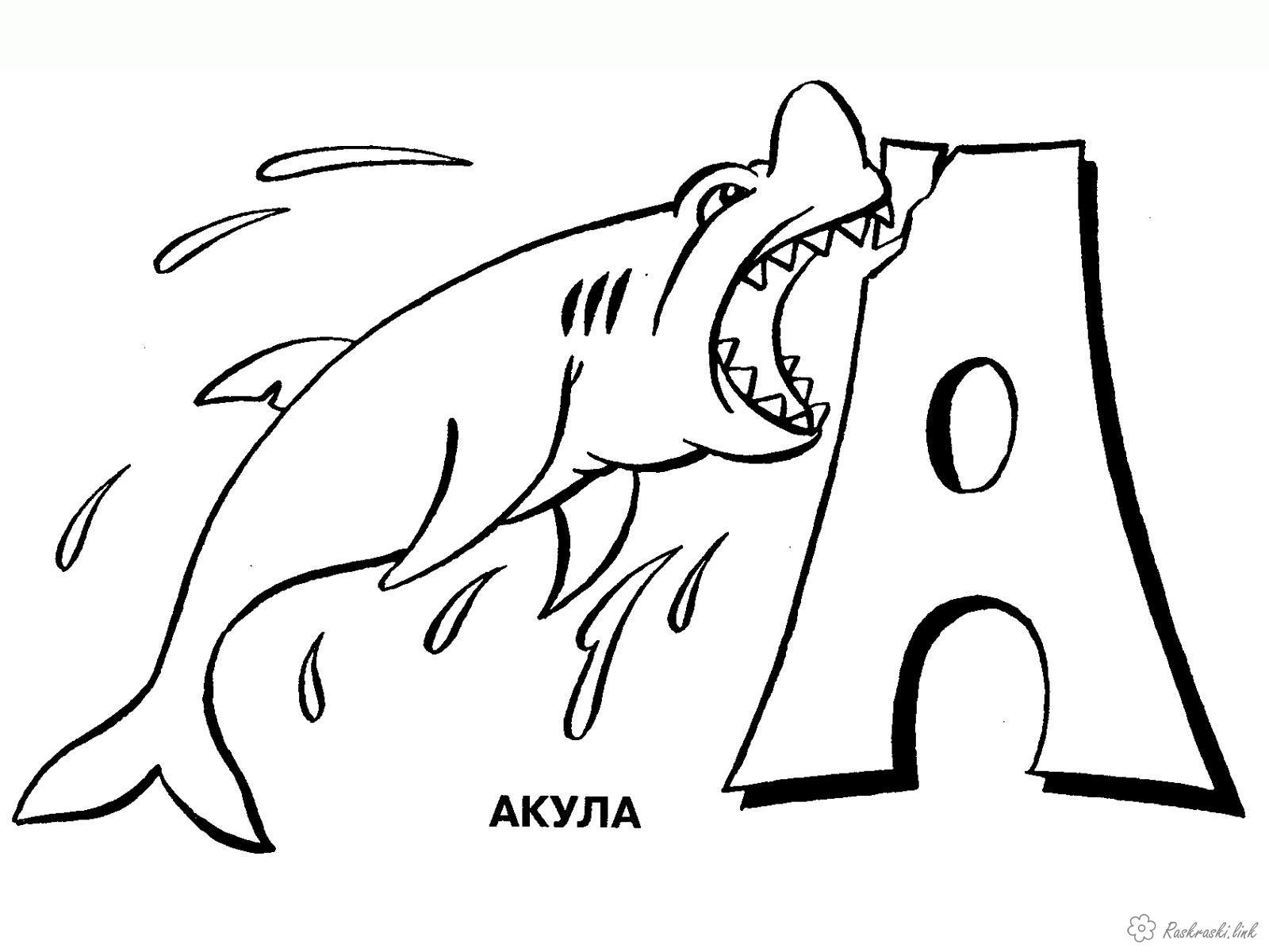 Раскраски изучаем буква а акула изучаем буквы раскраска с алфавитом