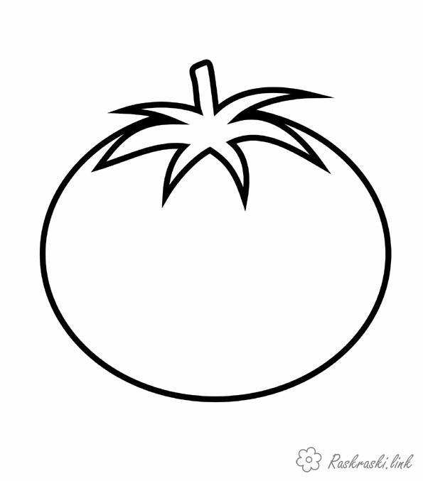 Раскраски помидор Простая раскраска, помидор, овощ