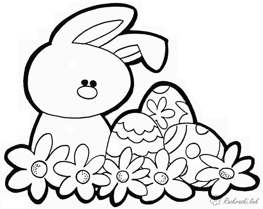 Coloring Easter coloring pages Easter rabbit and eggs