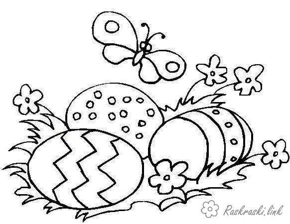 Coloring Easter Easter, Easter coloring pages, butterfly, colored eggs