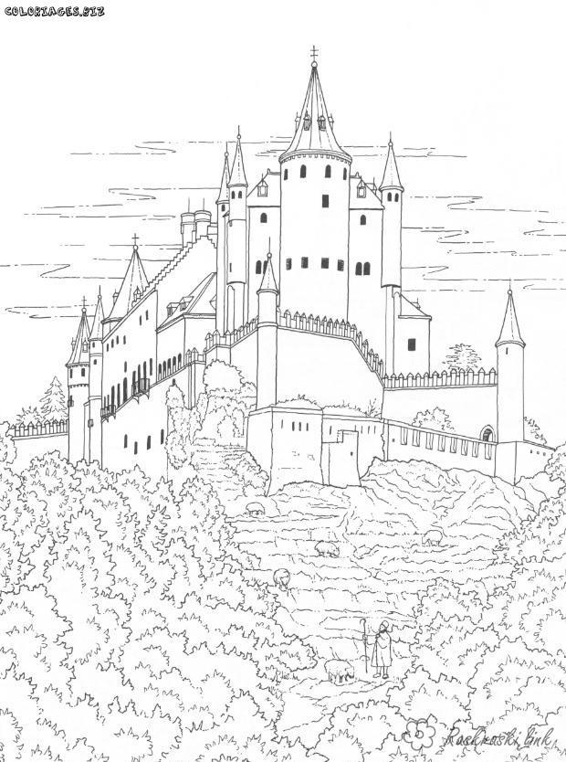 Розмальовки замок розмальовки для дітей, подорожі, Європа, замок, палац, будівля