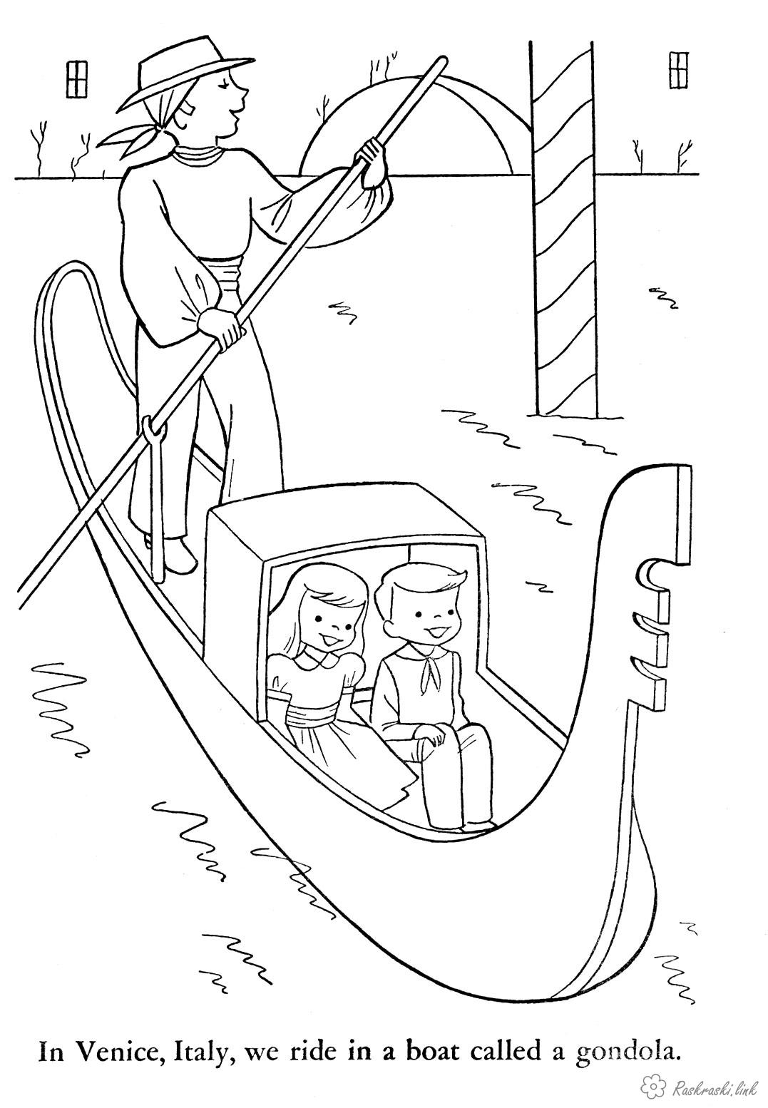 Coloring Europe coloring pages books for children, travel, Europe, boy, girl, man, boat, river