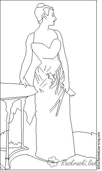 Coloring Europe coloring pages books for children, travel, Europe, woman