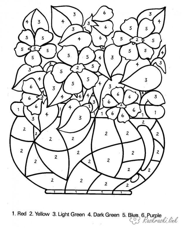 Розмальовки номерами розмальовки для дітей, розмальовки за номерами, квіти