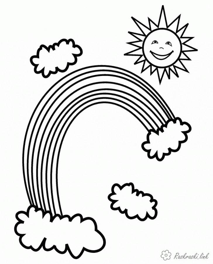 Раскраски явления Явления природы, радуга, солнце, облака