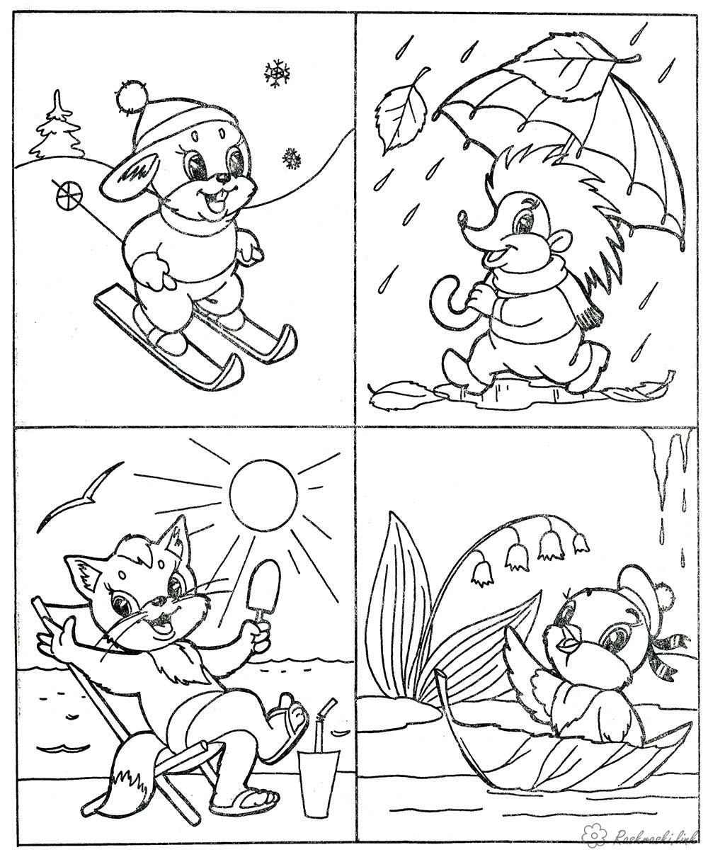 Розмальовки осінь Явища природи, пори року, зима, весна, літо, осінь, заєць, їжачок, лисичка, курча