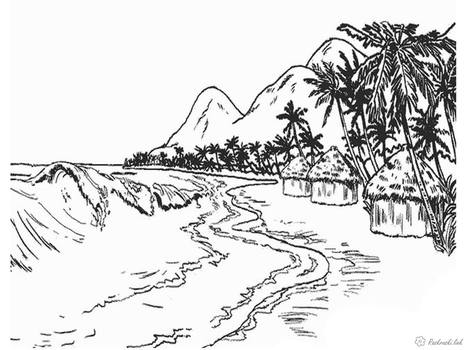 Раскраски пальмы Детская раскраска красивый остров, пальмы, горы