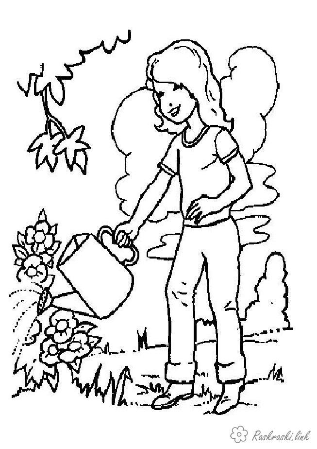 Раскраски природа раскраски растения, природа, девочка, цветы