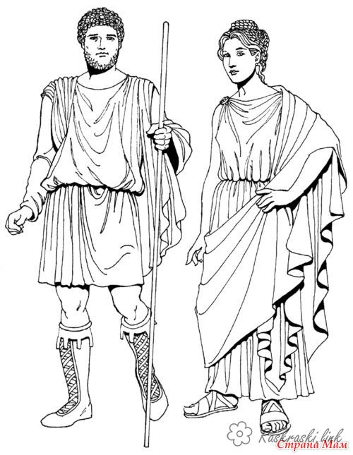 Coloring Europe Children coloring pages garments men of ancient Greece
