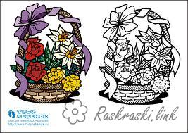 Coloring flowers Children coloring pages in color, flowers, basket
