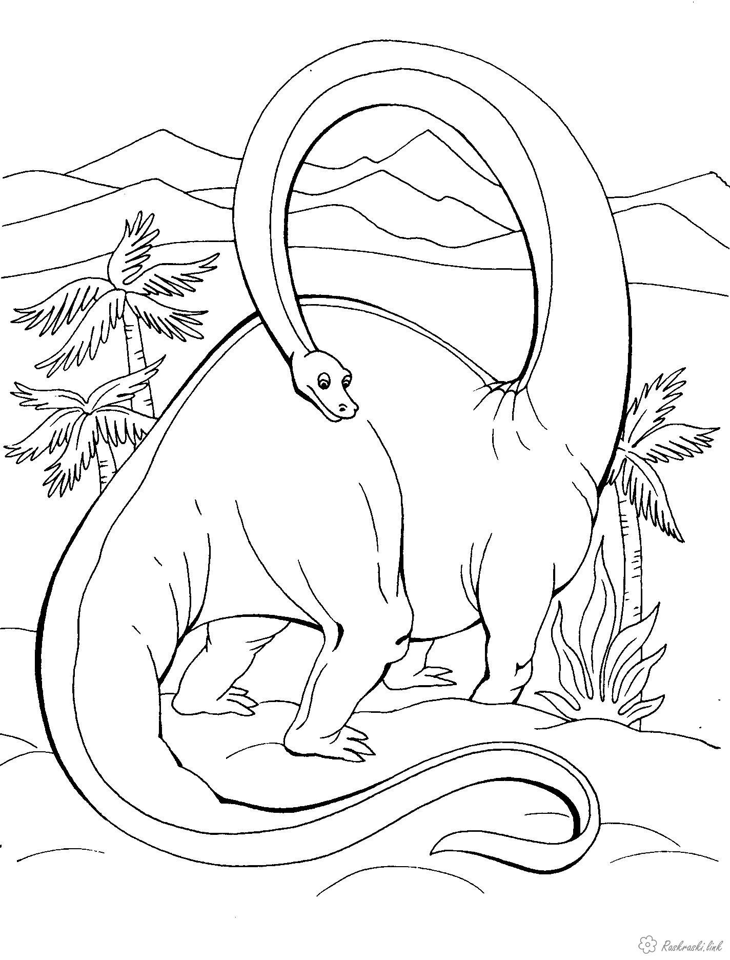 Раскраски пальмы Рептилии, динозавр, травоядный, пальмы