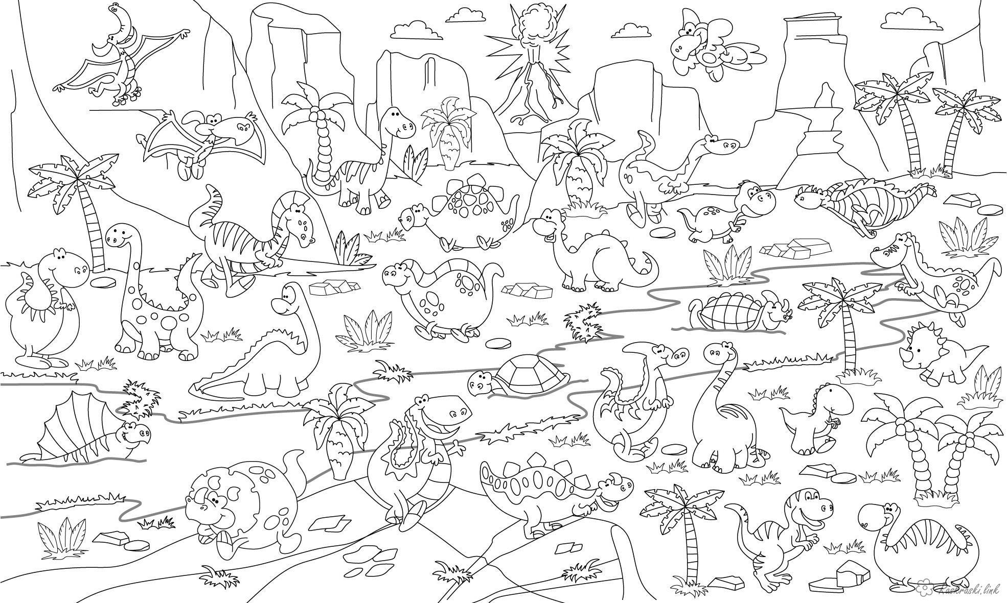 Розмальовки Рептилії Рептилії, ящірка, динозавр, черепаха, річка, гори, вулкан, пальми