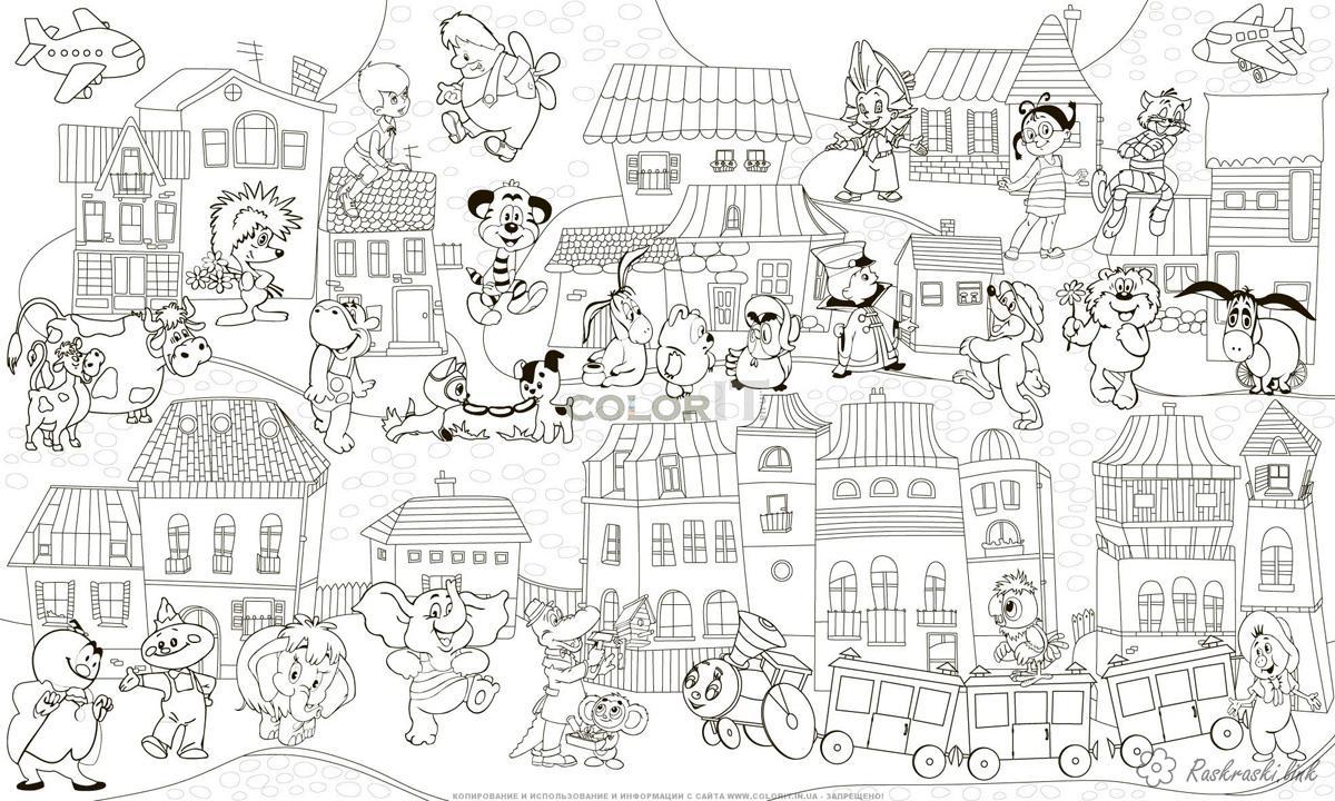 Розмальовки мультфільмів Дитяча розфарбування з героями радянських мультфільмів