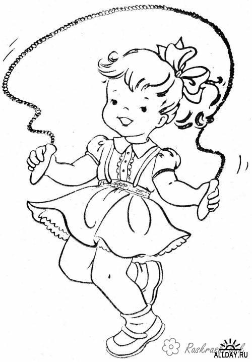 Розмальовки дівчинка Розмальовки свята, розмальовки 1 червня, діти, дівчинка