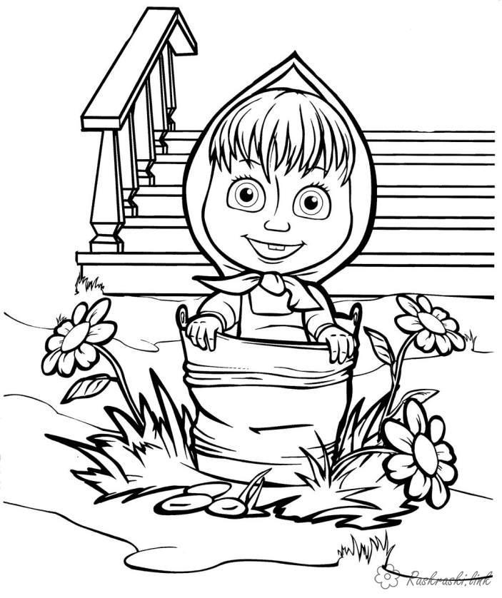 Розмальовки дівчинка Розмальовки свята, розмальовки 1 червня, Маша, дівчинка