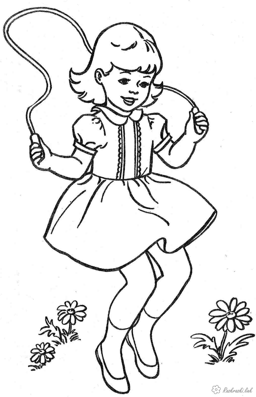 Раскраски прыгает Раскраски праздники, раскраски 1 июня, девочка