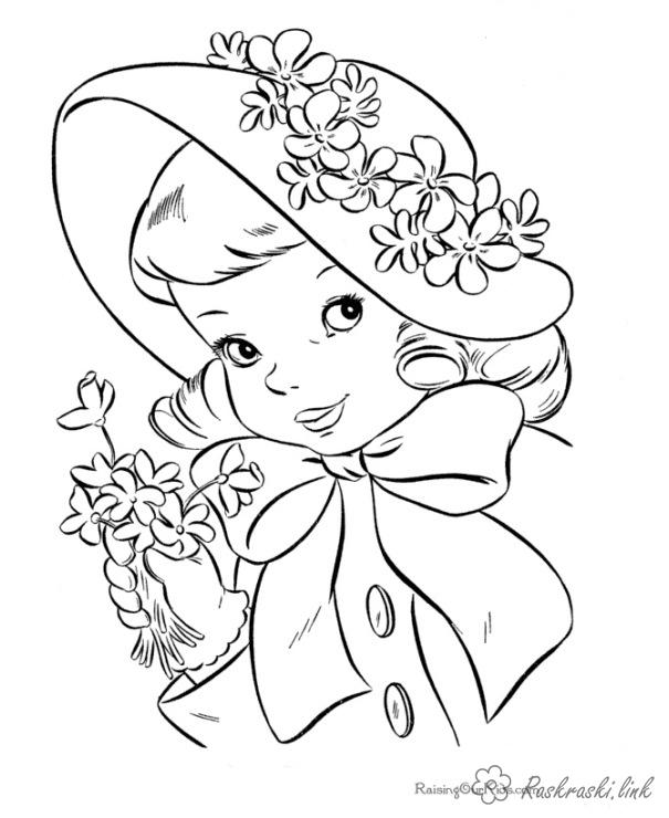 Coloring hat coloring pages Holidays coloring pages June 1 girl