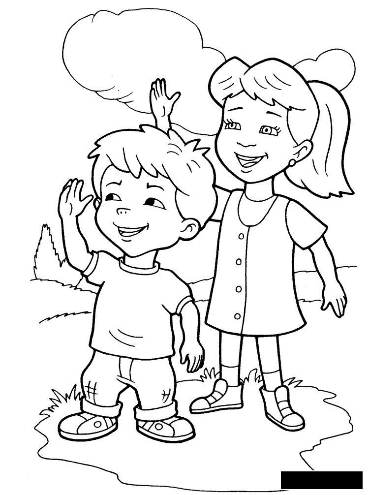 Раскраски дети Раскраски праздники, раскраски 1 июня, девочка, мальчик, дети